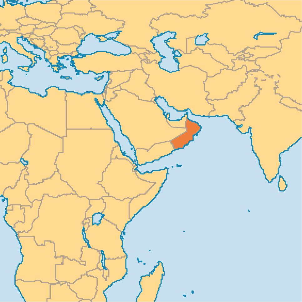 Oman in world map - Oman map in world map (Western Asia - Asia)
