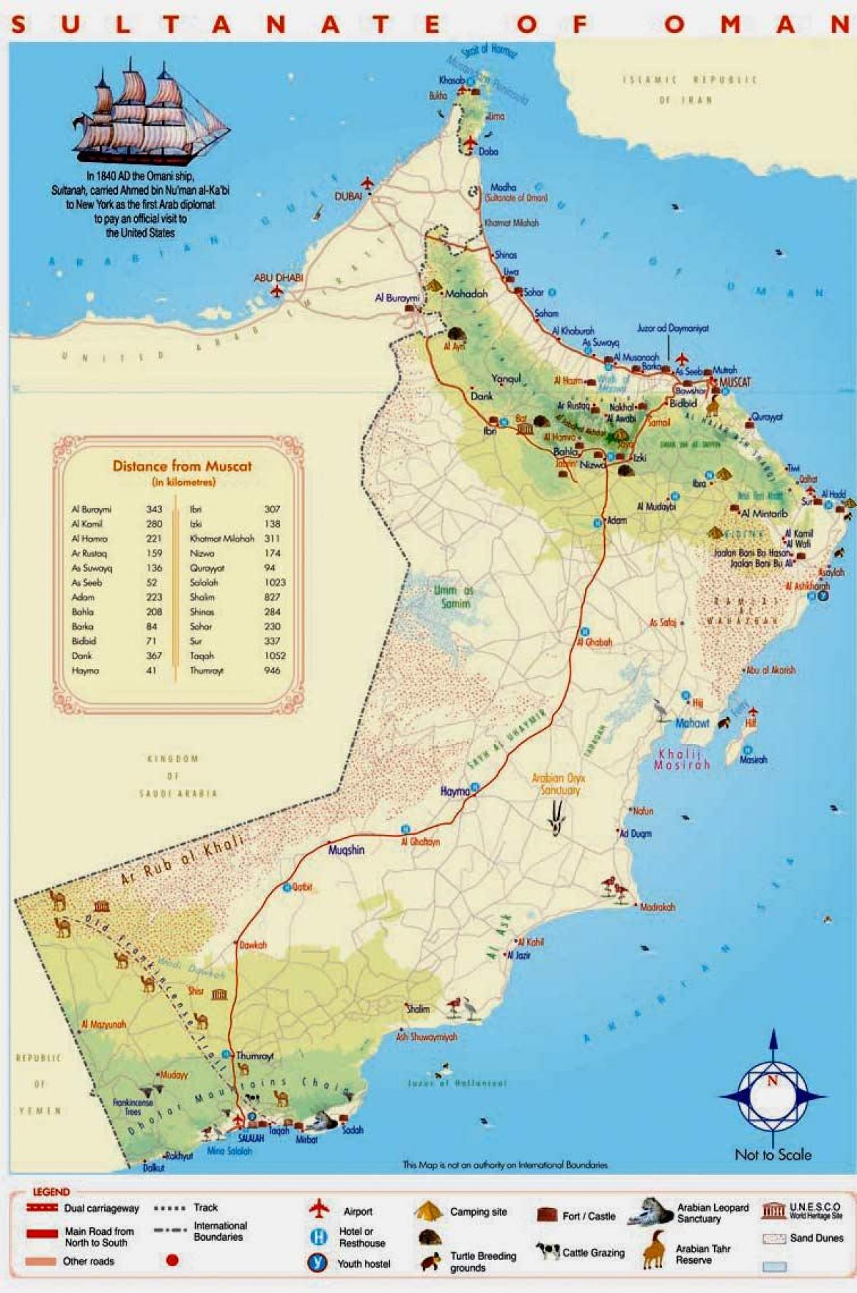 Oman tourist attractions map - Oman attractions map (Western