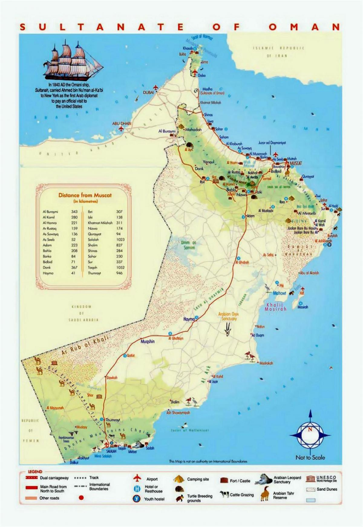 Oman tourist places map